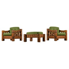 Rustic Modern Solid Knotty Pine Lounge Chairs & Ottoman Set by Null