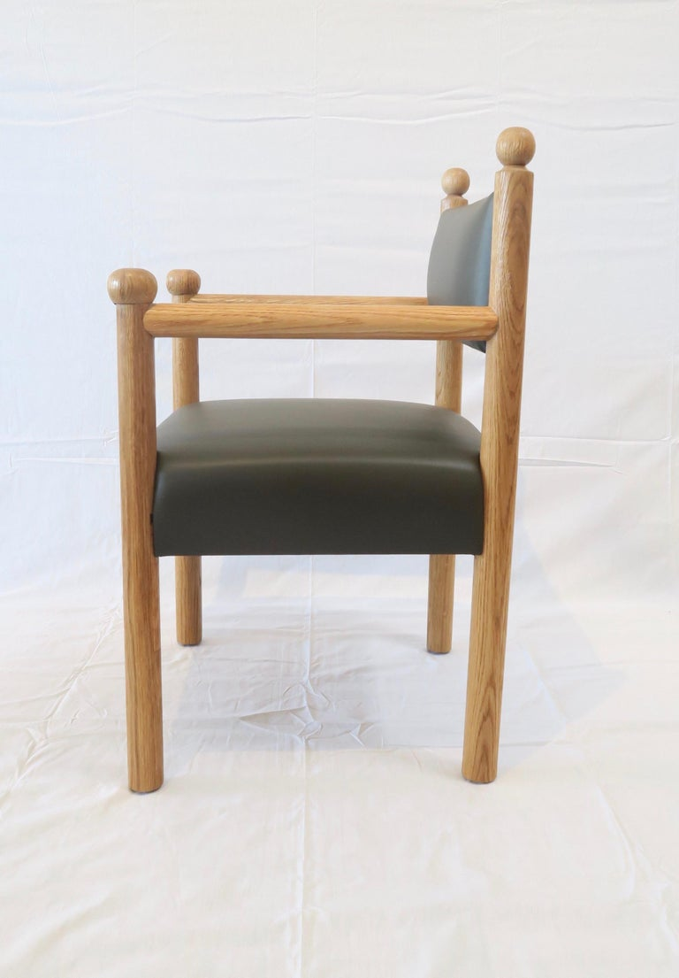 Rustic Modern Dining Chair with Turned Finals by Martin and Brockett, Dark Green In New Condition For Sale In Los Angeles, CA