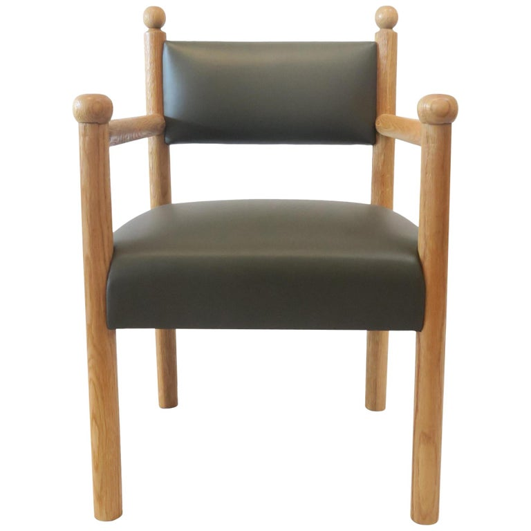 Rustic Modern Dining Chair with Turned Finals by Martin and Brockett, Dark Green For Sale