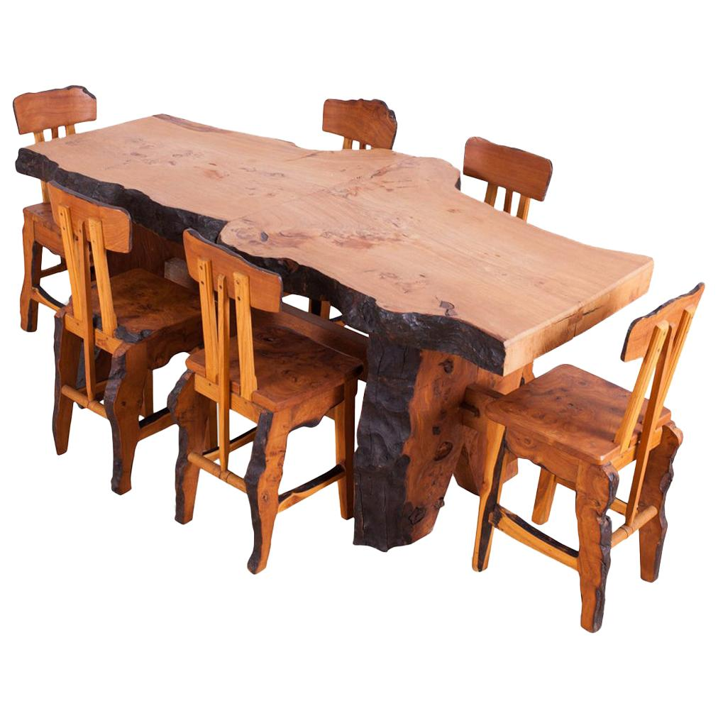 Rustic Modern Wabi Sabi Dining Table and Chairs in the Style of Nakashima
