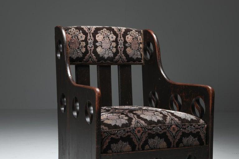 Velvet Rustic Modernist Armchair For Sale