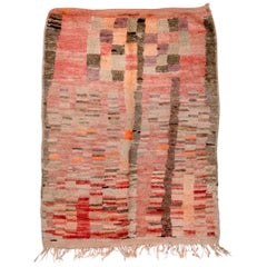 Rustic Moroccan Scatter Rug, Red & Coral Palette, Circa 1970s