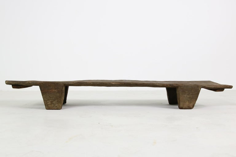 Mid-Century Modern Rustic Naga Table or Bench, Hand Carved Wabi Sabi Style, Ancient Solid Wood No.1 For Sale