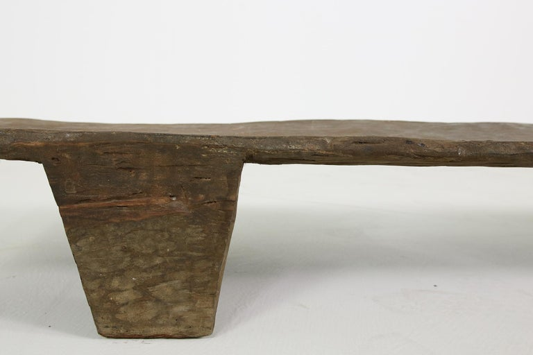 Rustic Naga Table or Bench, Hand Carved Wabi Sabi Style, Ancient Solid Wood No.1 In Good Condition For Sale In Hamminkeln, DE