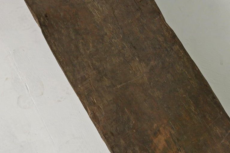 Mid-20th Century Rustic Naga Table or Bench, Hand Carved Wabi Sabi Style, Ancient Solid Wood No.1 For Sale