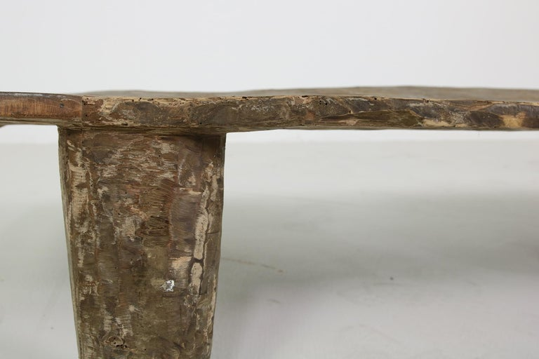 Mid-Century Modern Rustic Naga Table or Bench, Hand Carved Wabi Sabi Style, Ancient Solid Wood no.2 For Sale