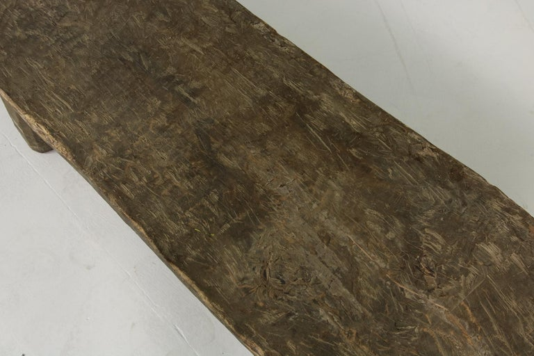 Rustic Naga Table or Bench, Hand Carved Wabi Sabi Style, Ancient Solid Wood no.2 In Good Condition For Sale In Hamminkeln, DE