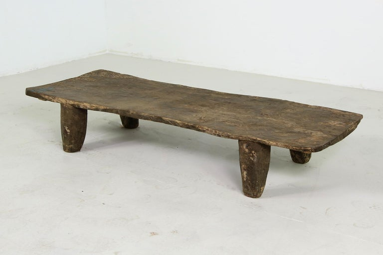 Mid-20th Century Rustic Naga Table or Bench, Hand Carved Wabi Sabi Style, Ancient Solid Wood no.2 For Sale