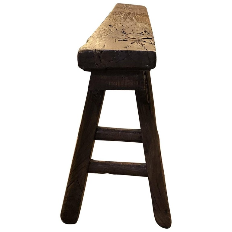 Wood Rustic Narrow Bench, Chinese For Sale