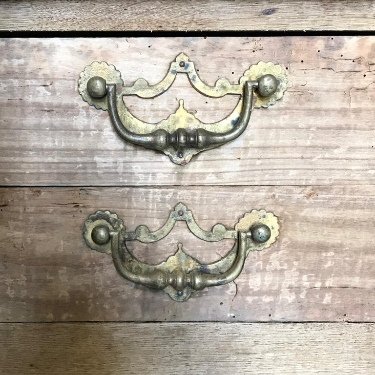 Rustic Naturally Distressed French Two-Drawer Console Table Commode For Sale 7