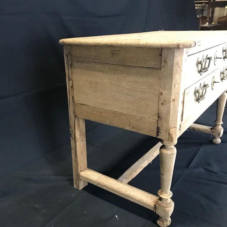 Rustic Naturally Distressed French Two-Drawer Console Table Commode For Sale 8