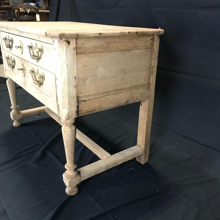 Rustic Naturally Distressed French Two-Drawer Console Table Commode For Sale 9