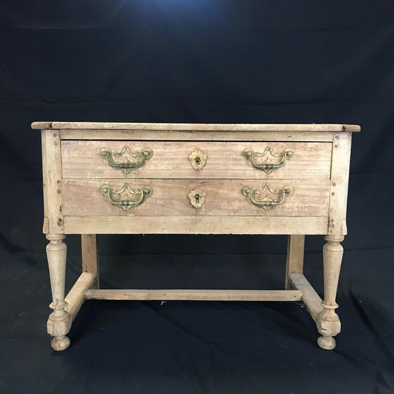 Rustic Naturally Distressed French Two-Drawer Console Table Commode For Sale 10