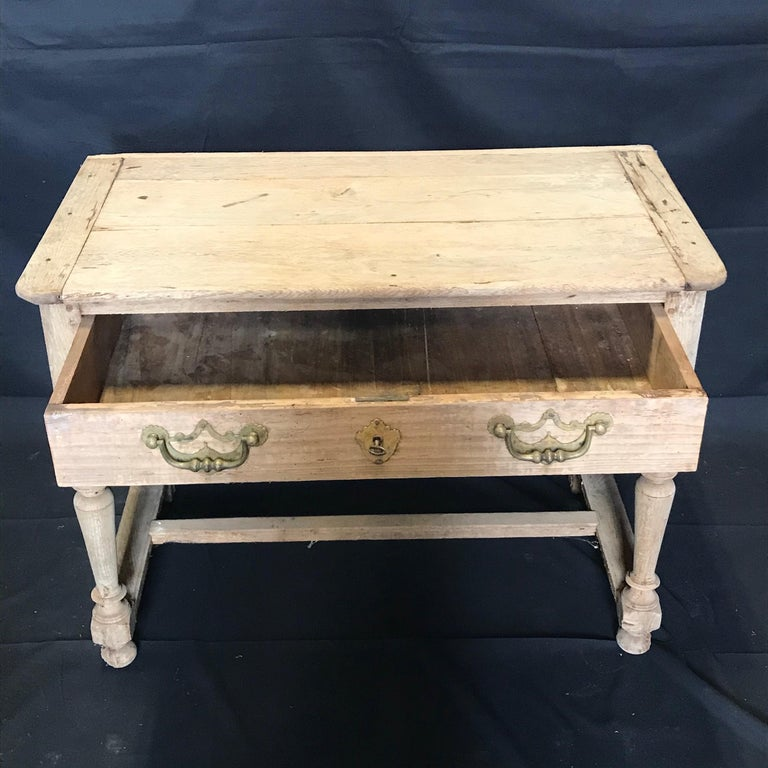 Rustic Naturally Distressed French Two-Drawer Console Table Commode In Distressed Condition For Sale In Hopewell, NJ