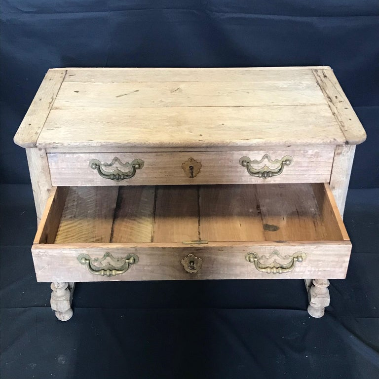 Rustic Naturally Distressed French Two-Drawer Console Table Commode For Sale 2