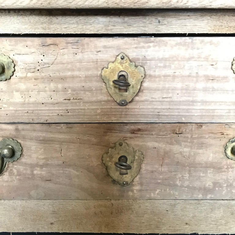Rustic Naturally Distressed French Two-Drawer Console Table Commode For Sale 3