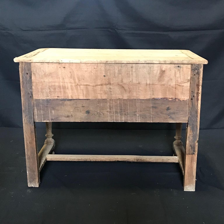 Rustic Naturally Distressed French Two-Drawer Console Table Commode For Sale 4