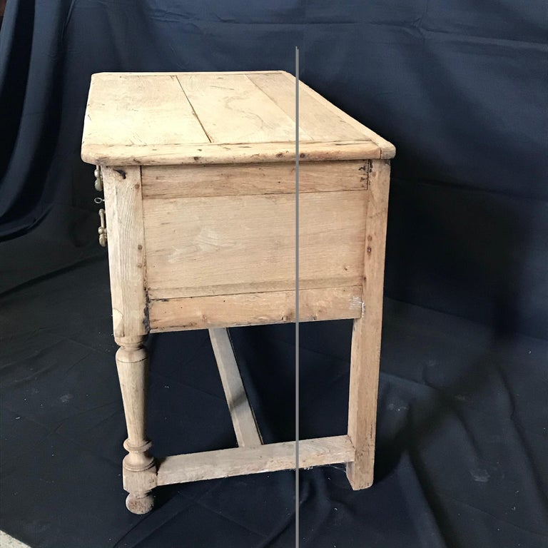 Rustic Naturally Distressed French Two-Drawer Console Table Commode For Sale 6