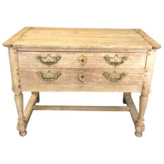 Rustic Naturally Distressed French Two-Drawer Console Table Commode