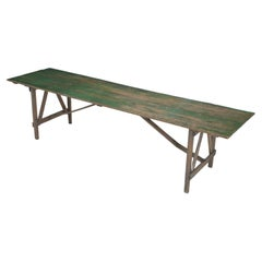 Rustic Northern Wisconsin Farm Table, Original Paint Long and It Folds Flat