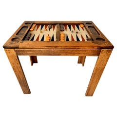 Rustic Oak and Suede Backgammon Table