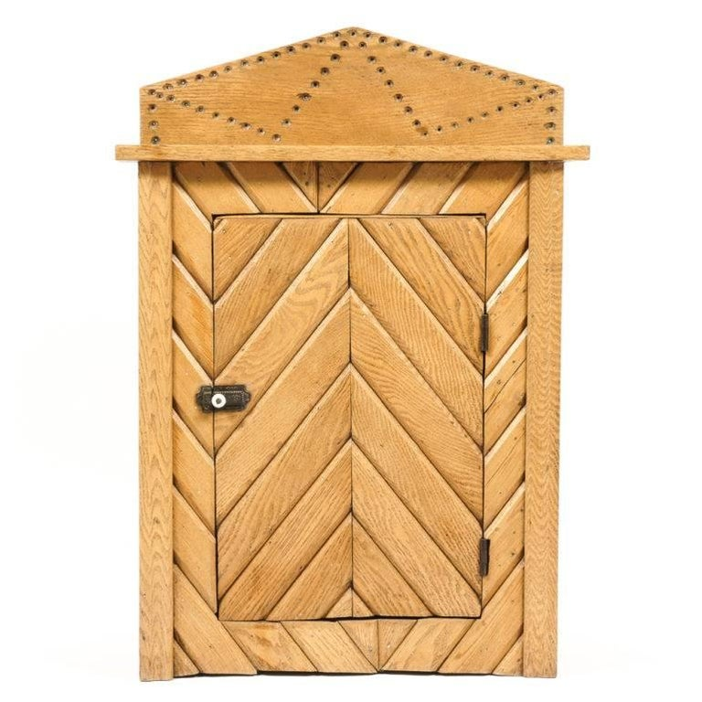 20th Century Rustic Oak Cabinet For Sale