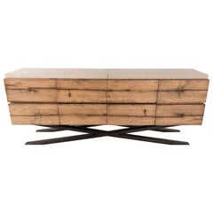 "Rustic Oak Media Console Limestone Top with ""X"" Design Steel Base"