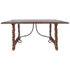 Rustic Oak Trestle Table with Iron Stretcher