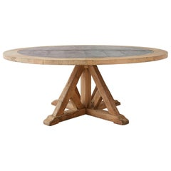 Reclaimed Oak Zinc Top Round Pedestal Dining Table