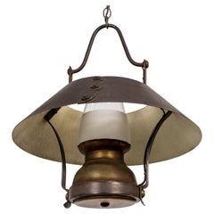 Rustic Oil Lamp Style Metal and Glass Lantern