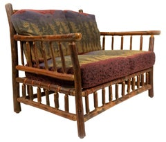 Rustic Old Hickory Loveseat with Forest Print