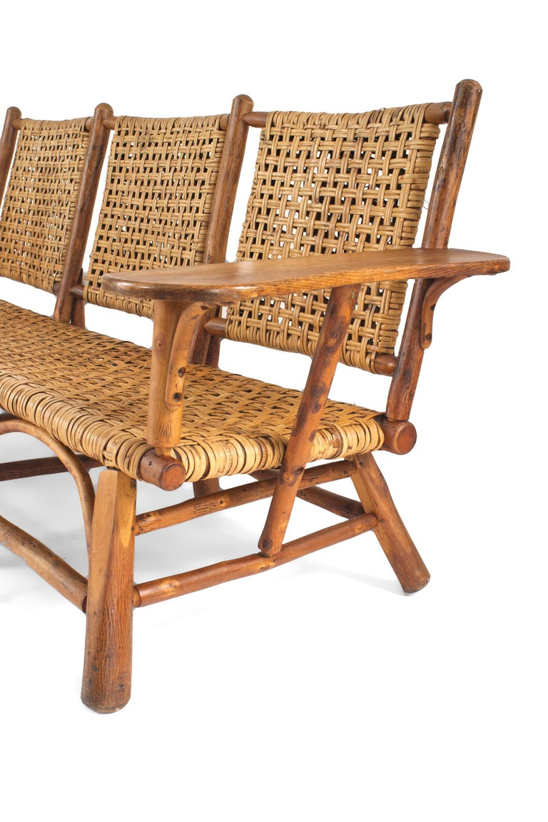 Rustic Old Hickory Settee With Woven Seat And Back Oak Plank Armrests See Matching Armchairs