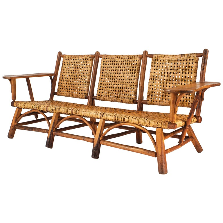 Rustic Old Hickory Settee By For