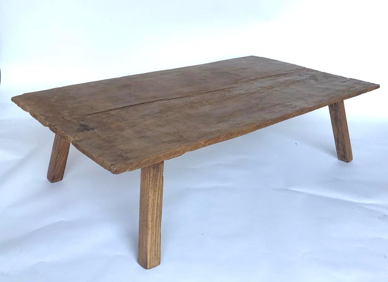 Guatemalan Rustic One Wide Plank Coffee Table For Sale