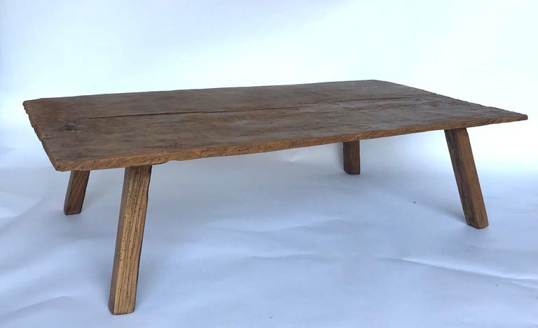 Rustic One Wide Plank Coffee Table In Good Condition For Sale In Los Angeles, CA