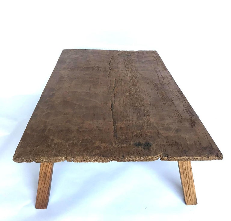 19th Century Rustic One Wide Plank Coffee Table For Sale