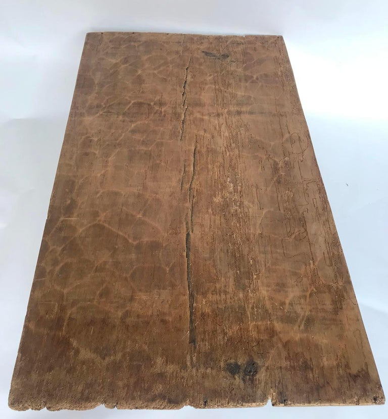 Wood Rustic One Wide Plank Coffee Table For Sale