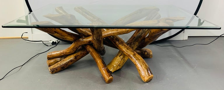 Organic Modern Rustic Organic Design Maple Log Wood Coffee or Cocktail Table with Glass Top For Sale