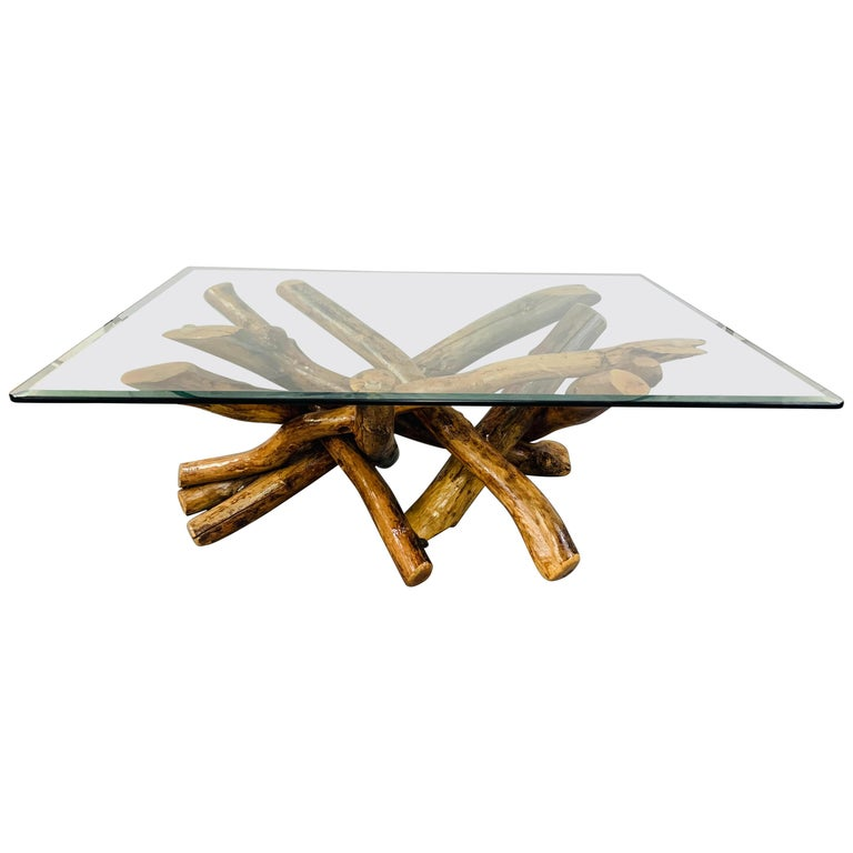 Rustic Organic Design Maple Log Wood Coffee or Cocktail Table with Glass Top For Sale