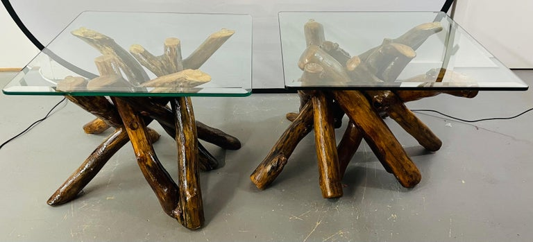 American Rustic Organic Design Maple Log Wood Side or End Table with Glass Top, a Pair For Sale