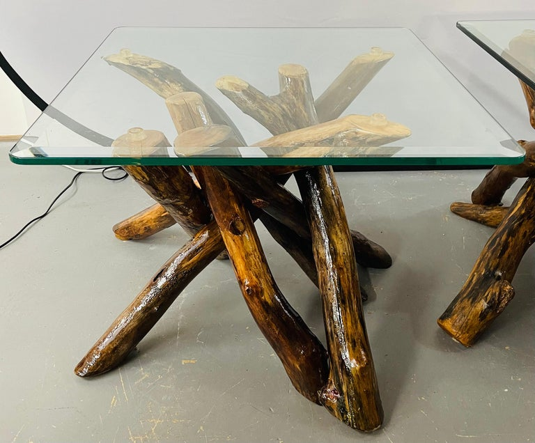 Rustic Organic Design Maple Log Wood Side or End Table with Glass Top, a Pair In Good Condition For Sale In Plainview, NY