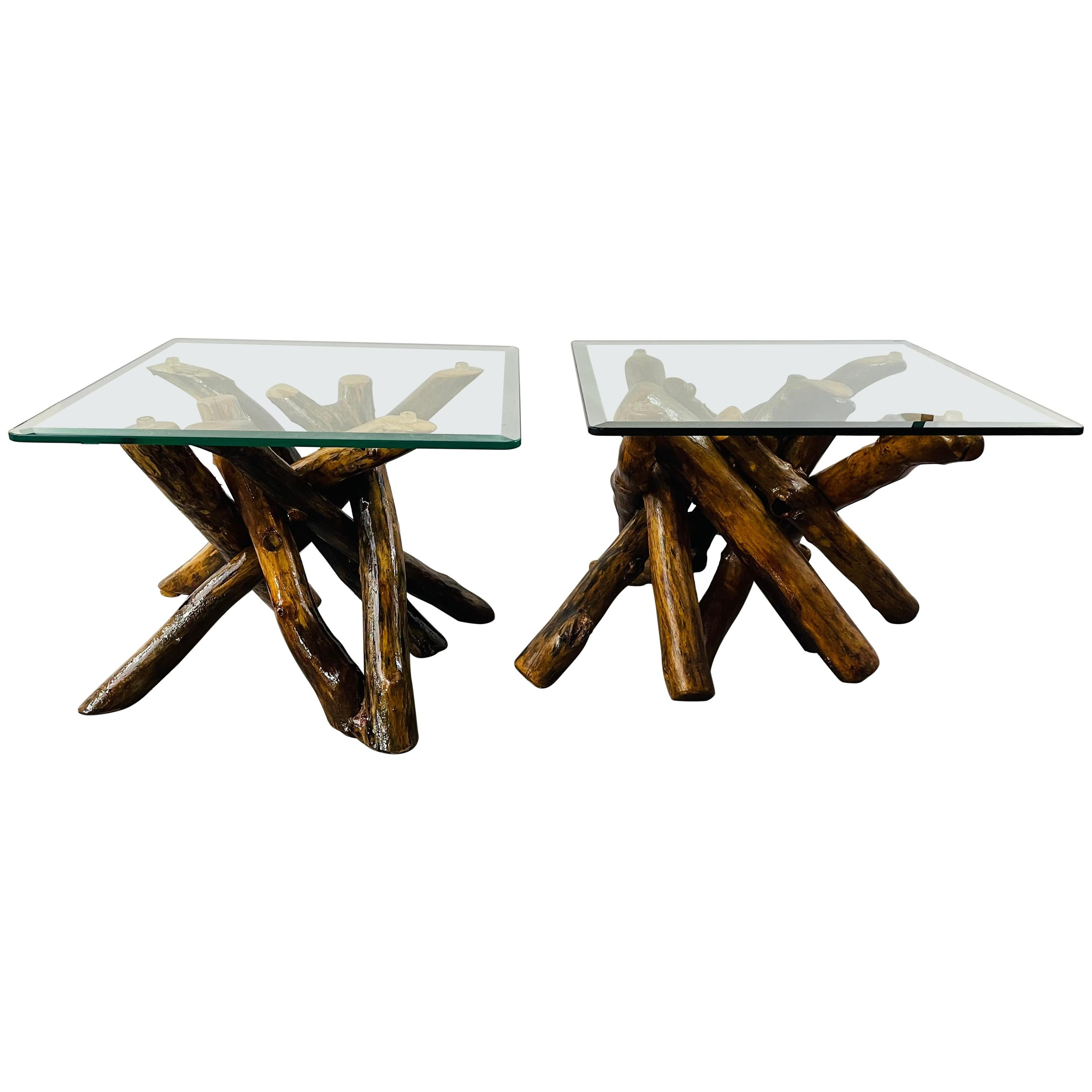 Rustic Organic Design Maple Log Wood Side or End Table with Glass Top, a Pair