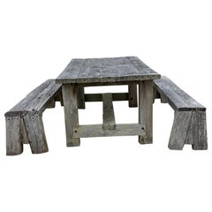Rustic Outdoor Timber Farm Table and Benches