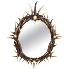 Rustic Oval Antler Wall Mirror
