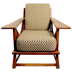 Rustic Paddle Arm Lounge Chair Attributed to Herman DeVries for Cushman