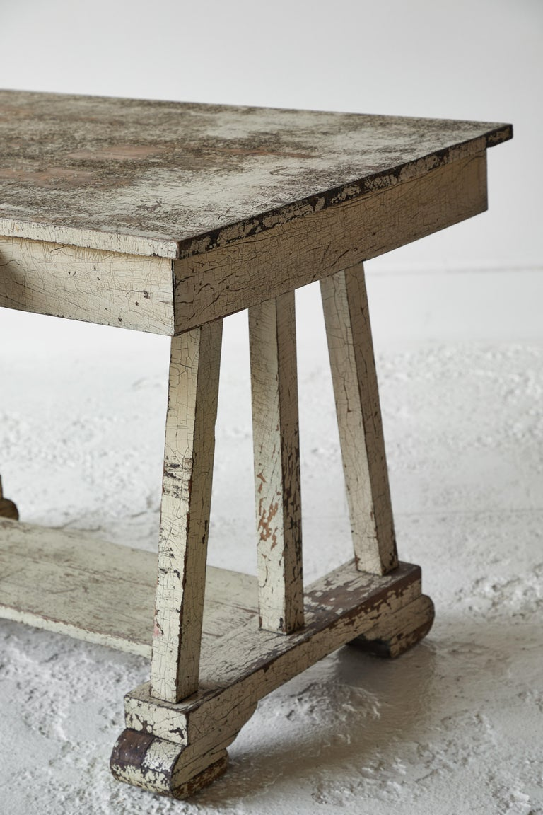 Wood Rustic Painted Desk For Sale