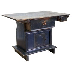 Rustic Painted Two-Drawer Table
