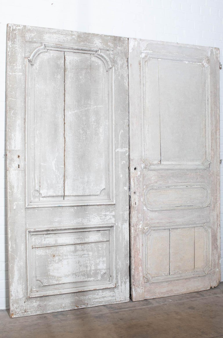 Rustic Pair of 19th Century French Painted Panel Doors For Sale 12