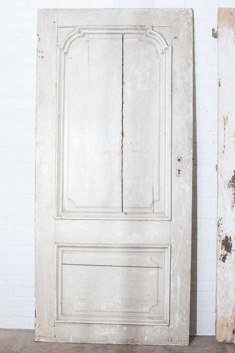 Rustic Pair of 19th Century French Painted Panel Doors For Sale 14