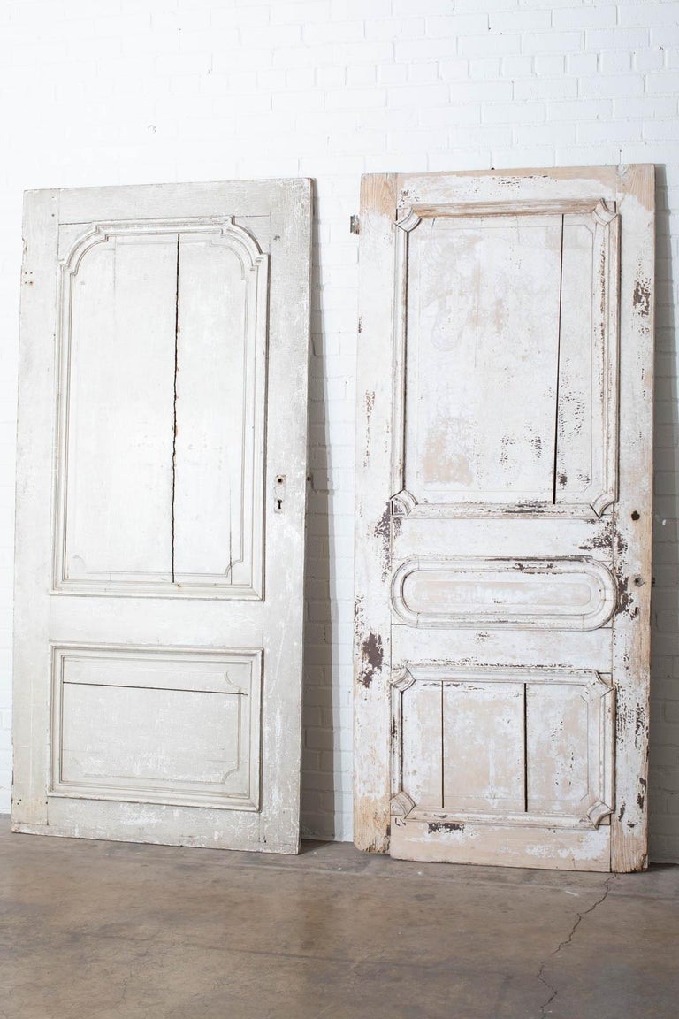 Rustic Pair of 19th Century French Painted Panel Doors For Sale 16